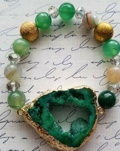 Green Agate Druzy Crystal Stretch Bracelet